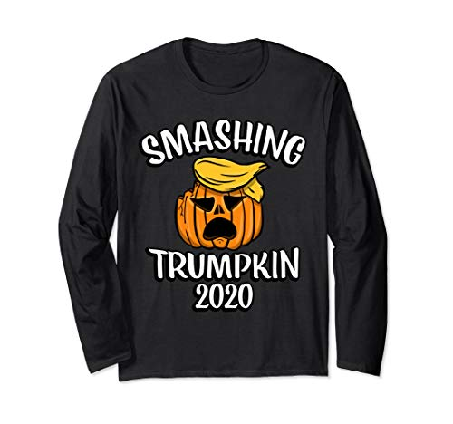 Anti President Trump Halloween Smashing Trumpkin Funny Gift Long Sleeve T-Shirt