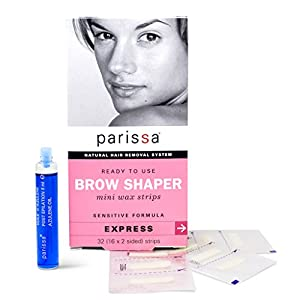 Parissa Brow Shaper Mini Wax Strips, Waxing Strips for Hair Removal Waxing Brow & Facial, 32 Strips