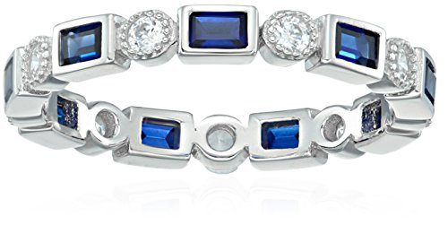 Platinum-Plated Sterling Silver Created Sapphire All-Around Band Ring set with Swarovski Zirconia Accents, Size 6