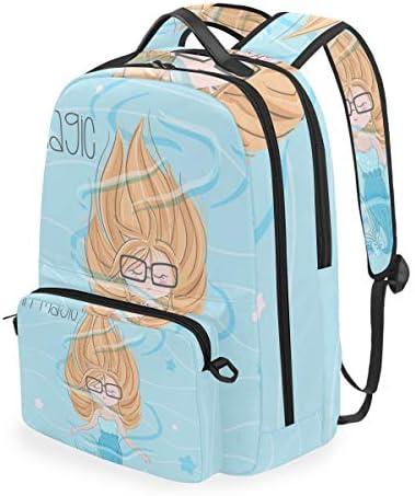 かわいい青い海の人魚ショルダー バックパック メッセンジャー クロスボディ ラップトップ バッグ 学生 スクールバッグ ブックバッグ 女の子 男の子 用