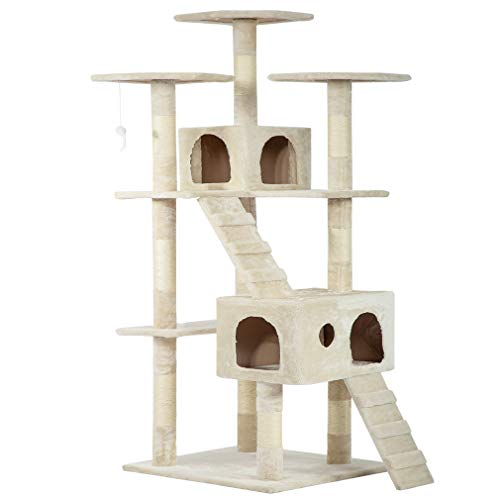 Beige 73' Cat Tree Scratcher Play House Condo Furniture Bed Post Pet House