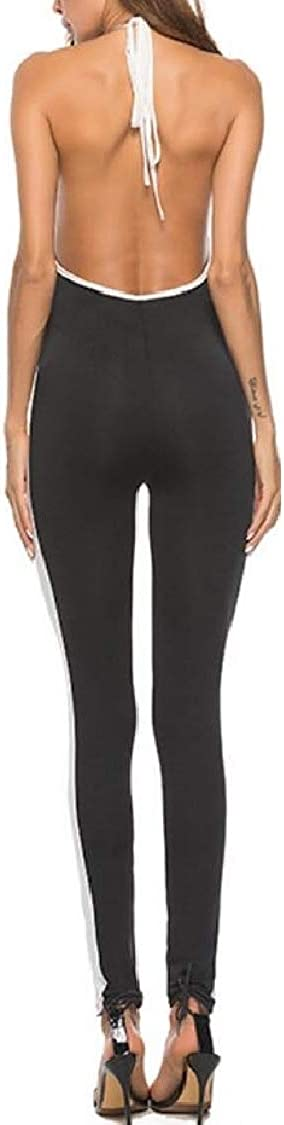 Pandapang Womens Spaghetti Strap Halter Sport Stretch Striped Backless Bodysuit Jumpsuits