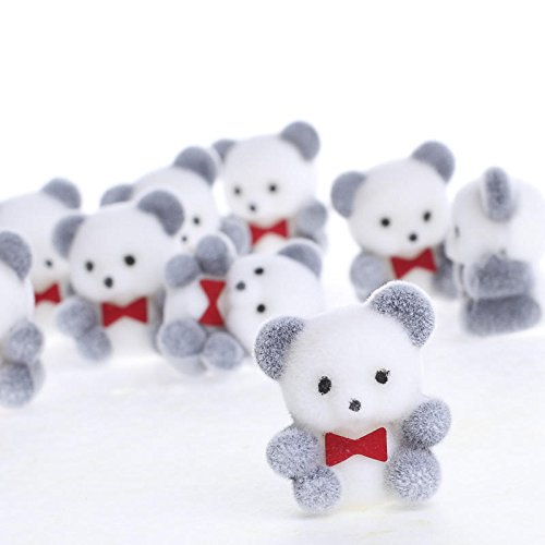 Sitting Panda Bear - 24 Sitting Flocked Baby Panda Bears with Red Bow Ties
