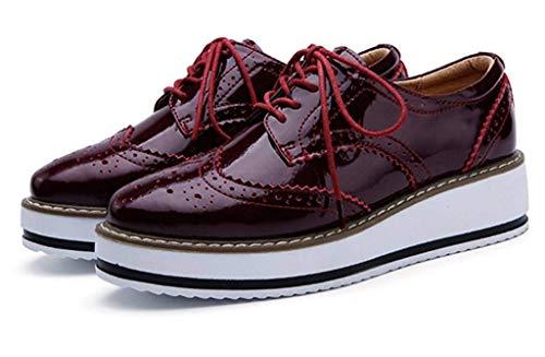 dd4a0d11f7c8 ... chaussures Vernis Antidérapant Lacets Mocassins Minetom Rouge Ville  Cuir Oxford Rétro À Femmes Loafers De Derbies