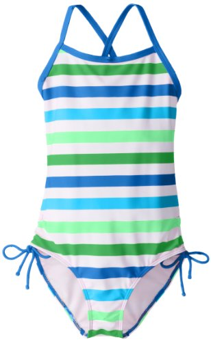 Kanu Surf Big Girls'  Sassy One Piece Swimsuit, Blue/Green, 14