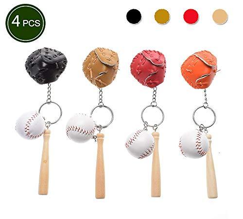 Keychain 1.1 Mini (Baseball Glove and Bat Model Keychain Mini Novelty Handbag Car Lover Sport -4 Pack)