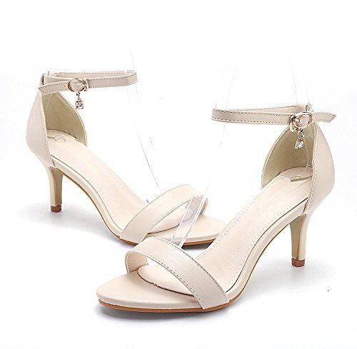 pour Talons Dames Cheville Chaussures Abricot Sandales Femmes Ouvert Hauts Ruiren PF6wx0q0