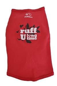 Ruff Ruff and Meow Dog Tank Top, Ruff U Long Time, Red, Large