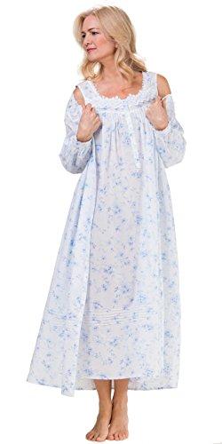 Eileen West Cotton Lawn Robe Gown Set In Dreamy Blue (X-Large/18-20, Dreamy Blue Floral) by Eileen West