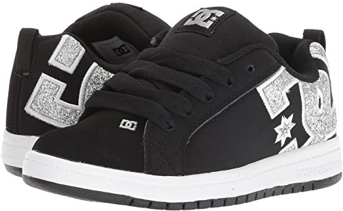 Boys Skateboarding Shoe (DC Youth Court Graffik Skate Shoes, Black/Silver, 3 M US Little Kid)