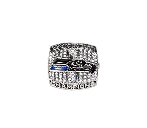 SEATTLE SEAHAWKS (Russell Wilson) 2013 SUPER BOWL XLVIII WORLD CHAMPIONS (Vs. Denver Broncos) Rare Collectible High Quality Replica NFL Football Silver Championship Ring with Cherrywood Display Box