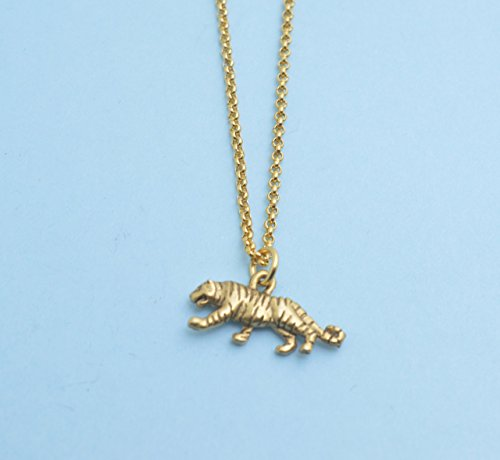 Tiger charm pendant in gold plated pewter on an 18