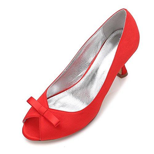 Para 8 Talón La Corte Stiletto Kitten Bombas yc De Talla 3 L Red Bowknot Trabajo Zapatos Plataforma Boda Low Mujer Mid 0IfaqwHF