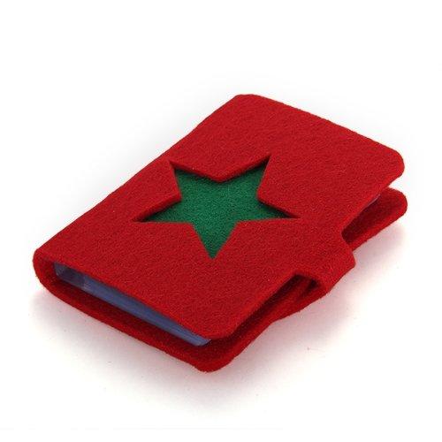 Tarjetero Cartera para Tarjeta Factura Estrella Hombre Mujer Rojo