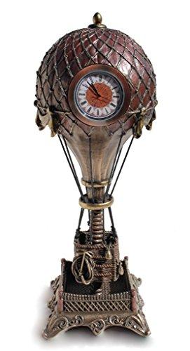 Steampunk Hot Air Balloon with Clock Statue Sculpture Cold Cast Bronze