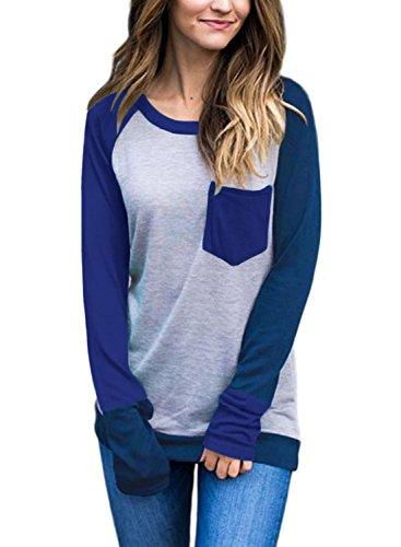 Dokotoo Womens Casual Fall Winter Ladies Full Long Sleeve Crewneck Color Block Pocket Jumper Sweatshirt Pullover Tunic Blouse Tops T Shirt Grey Large