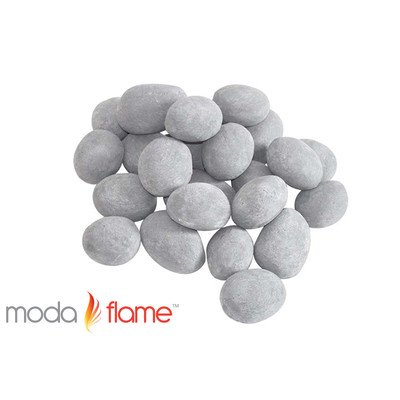 Moda Flame 24 Piece Ceramic Fireplace Pebble Set Finish: Gray
