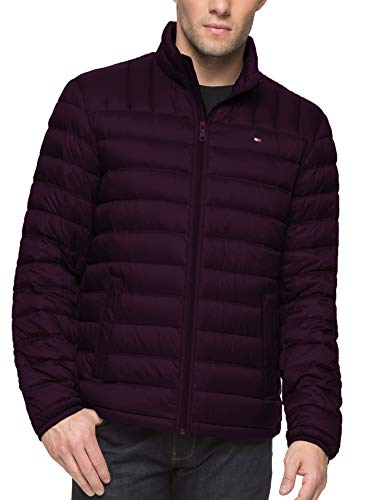 Tommy Hilfiger Men's Packable Down Jacket (Regular and Big & Tall Sizes), Port, Large (Quilted Full Zip Coat)