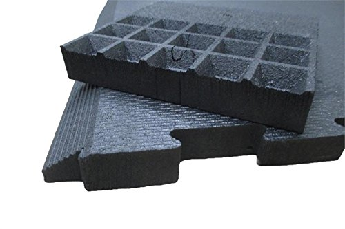 Humane SHOK-LOK 4' x 8' x 3/4'' Portable Rubber Deadlift Mats - SET OF 2 (Solid Black) - Anti-Shock Deadlifting Mats - Noise and Vibration Reducing Cardio Equipment Mats