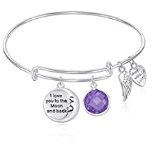 I Love You to the Moon and Back Expandable Wire Bangle Bracelet For Women, Girls, Teens GIFT BOXED