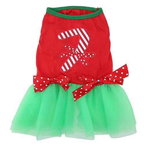 Yosoo- Vestido de Fiesta Tutu con Mascotas de Navidad, Arco Nudo Stick Candy sin Mangas Rojo Top Verde Falda Mascota Perro...