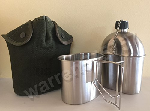 NEW G.I. Style Stainless Steel 1qt. Canteen and Cup. With Vintage Used Genuine U.S. Military Issue Vietnam Era 1 qt. Canvas Canteen Cover. by G.A.K