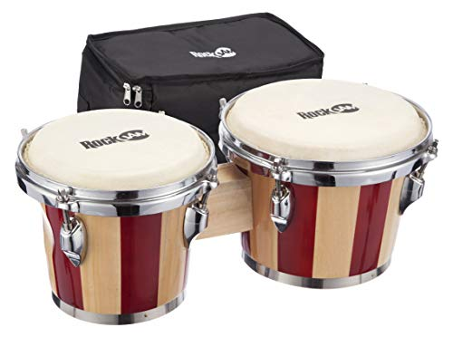 RockJam 7″ and 8″ Bongo Drum Set with Padded Bag and Tuning Key, Red and Natural Stripe