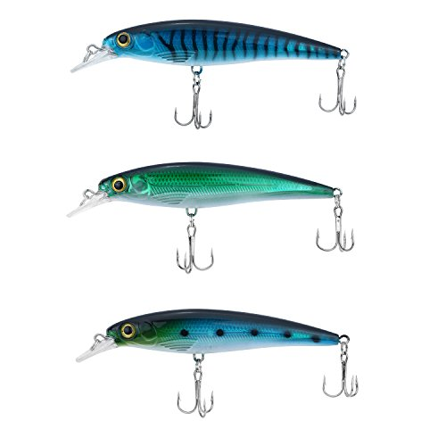 Discover Fish Fishing Lures for Trout Bass Muskie Sunfish Topwater Swimbait LifeLike Hard Plastic Artificial Crankbait Baits Set Kit lots for Stream River Waders Near Shore Everglades 4.5inch (Sea Bass Fishing Lures)