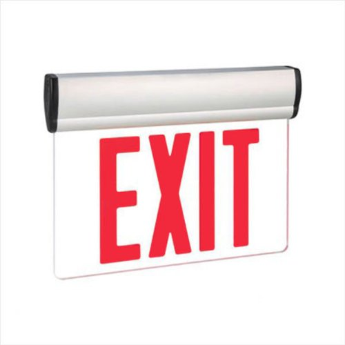 LED Exit Sign - Edge-Lit - Red Letters - 120/277 Volt and Battery Backup - Exitronix S902-WB-SR-RC-WH by Exitronix