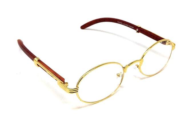 Amazon.com: CEO - Gafas de sol ovaladas de metal y madera ...