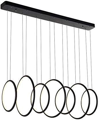 ロイヤルパールExclusiveデザインモダン円形LEDペンダント照明調節可能なHanging LightブラックFinish with 7リング
