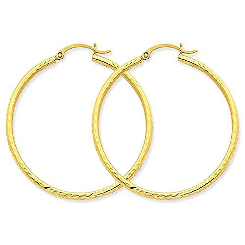 Large 14k Yellow Gold Diamond Cut Hoop Earrings, 1.5 Inches (40mm) (2mm Tube) 14k Gold Textured Hoop Earrings
