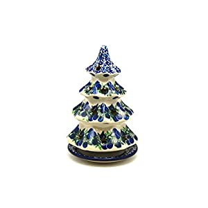 Polish Pottery Christmas Tree Luminary – Medium (7″) – Huckleberry