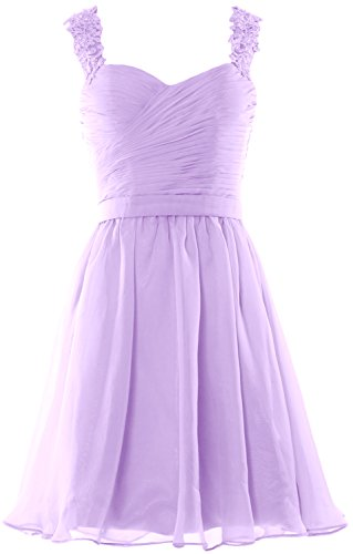 MACloth Women Lace Straps Chiffon Short Prom Homecoming Dress Formal party Gown Lavanda