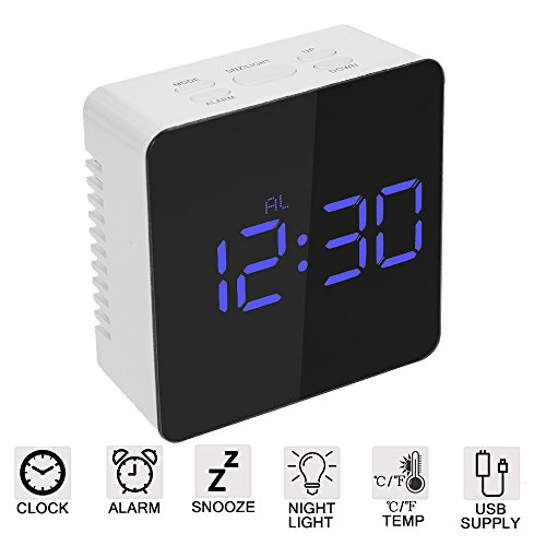 (Amisofia Square Digital Alarm Clock Large LED Display Adjustable Brightness Travel Mirror Clock Battery Operated Portable with Snooze for Girls)