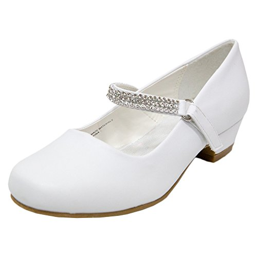 Adingshine Big Girls Dress Heels with Rhinestones Strap(1 M US Little Kid White)
