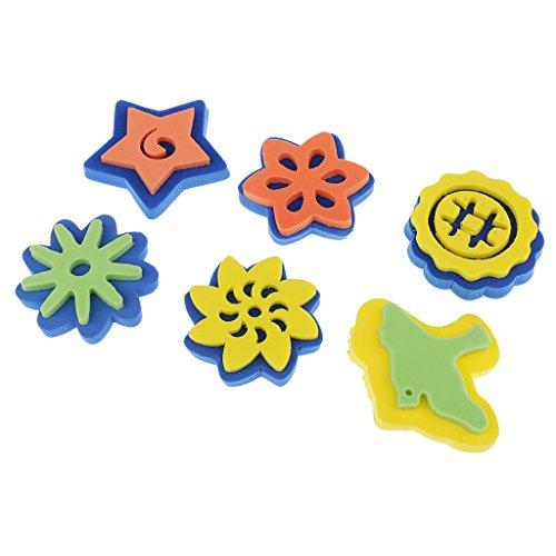 Perfk 6個入り 塗装おもちゃ ペイントブラシシール 贈り物 子供向け 星の花の形