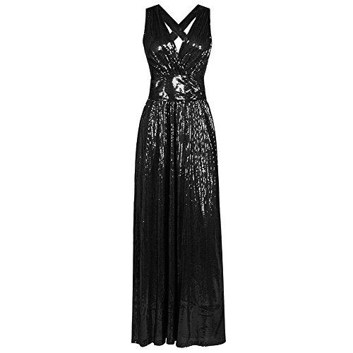 Col Soirée V Élégante Manches Noir Robe En Paillettes À Sans De Sexy fRwtZfq40