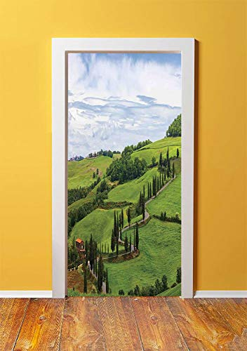 Tuscan 3D Door Sticker Wall Decals Mural Wallpaper,Mediterranean Landscape Ancient House Trees Vineyard Agriculture,DIY Art Home Decor Poster Decoration 30.3x78.3967,Green White and Light Blue ()