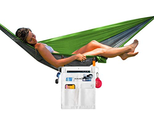 Hanging Clip-On Hammock Storage Bag with 5 Pockets | Large Pouches Work as Hammock Drink Holder and Tablet, Phone, Bluetooth Speaker, Book and Glasses Container That Clips to Side of Hammock