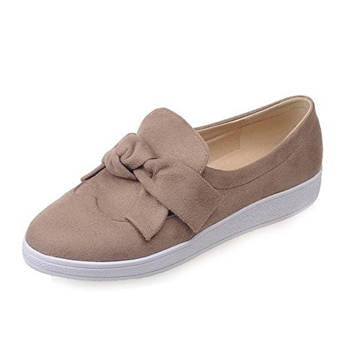 VogueZone009 Women's Round Toe Low Heels Pull On Solid Pumps-Shoes Apricot