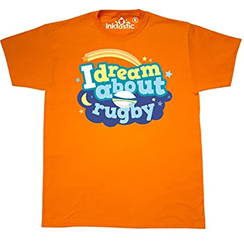 Inktastic - Dream About Rugby sports T-Shirt X-Large Safety Orange - 761 Rugby
