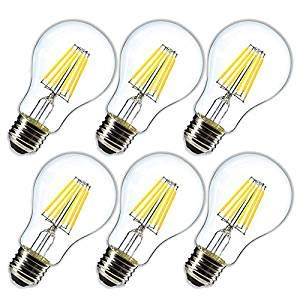 Dimmable 6W Vintage LED Edison Bulb 4000K Daylight White A19 /A60 LED Light Bulbs 600LM Led Filament Bulb 60W Equivalent E26 Medium Base Clear Glass, 6 Pack