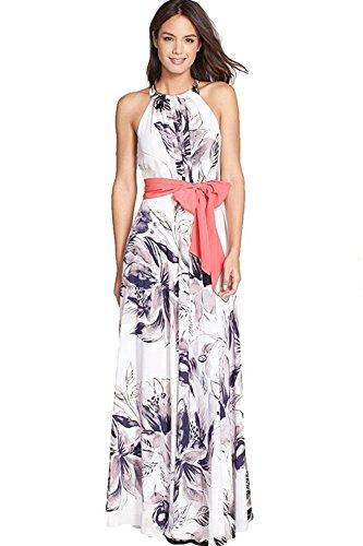 Frauen Boho Chiffon Kleid mit Blumenmuster HalterArtSleeveless ...