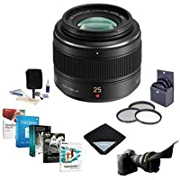 Panasonic Lumix G Leica DG Summilux 25mm f/1.4 Aspherical Lens for Micro 4/3 System - Bundle - with 46mm Filter Kit, Flex Lens Shade, Cleaning Kit, Lens Wrap (15x15), Pro Software Package
