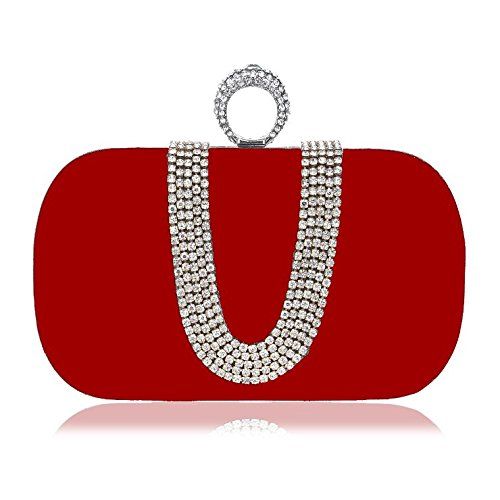 En Bag Forma Banquet Bolsa De Evening Mano Blue Ladies U Houyazhan Red Bolso color Diamond Fashion xUEFq80w