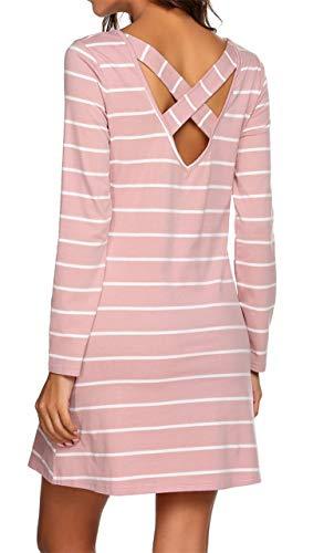 (YANDW Women T Shirt Dress Tunic Dresses Long Sleeve Casual Criss Cross Striped Xmas)