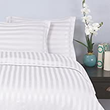 Elegant Comfort Wrinkle and Fade Resistant 1500 Thread Count-Damask Stripes Egyptian Quality Luxurious Silky Soft 3Piece Duvet Cover Set, King/Cal-King, White