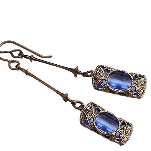 (wintefei Long Style Vintage Women Faux Gemstone Carved Pendant Dangle Drop Hook Earrings Jewelry)