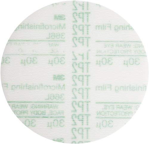 3M 366L 30 Grit, 5'' x NH Aluminum Oxide Microfinishing Film Type D Disc with Hookit Backing Green (50 Pack)